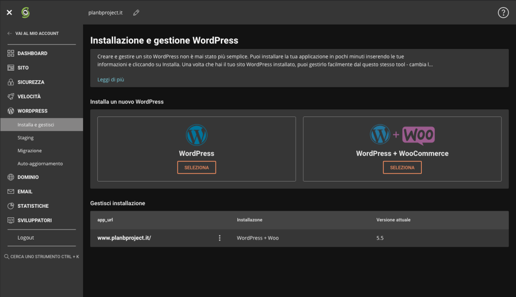 Pannello controllo Siteground, installazione WordPress