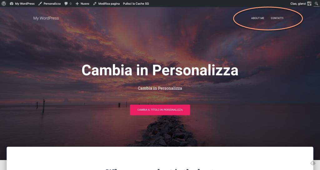 Homepage con menu