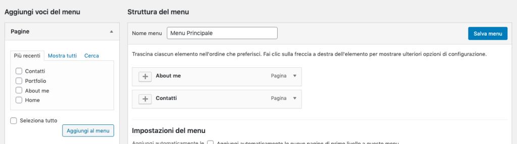 Creare un sito con WordPress - Personalizza menu