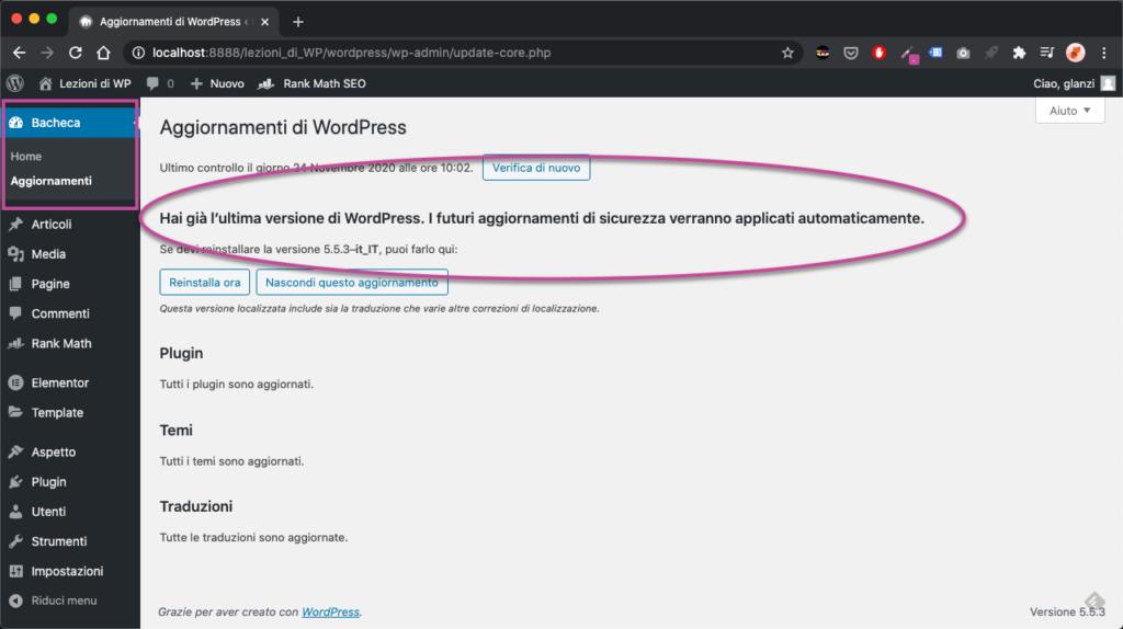 sicurezza wordpress Aggiornamenti WordPress