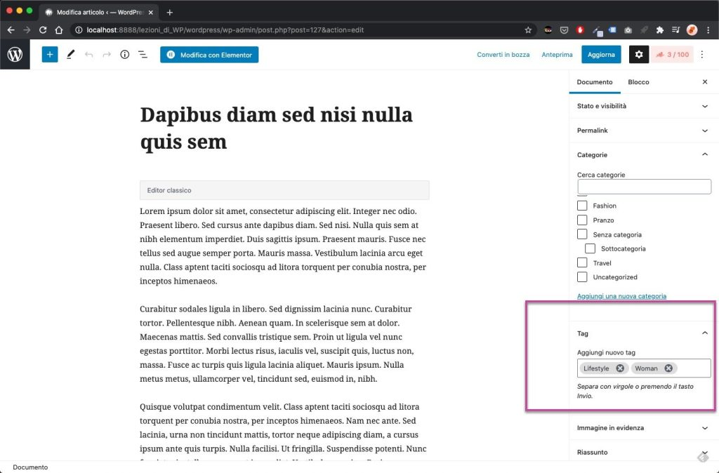 Aggiungere Tag WordPress