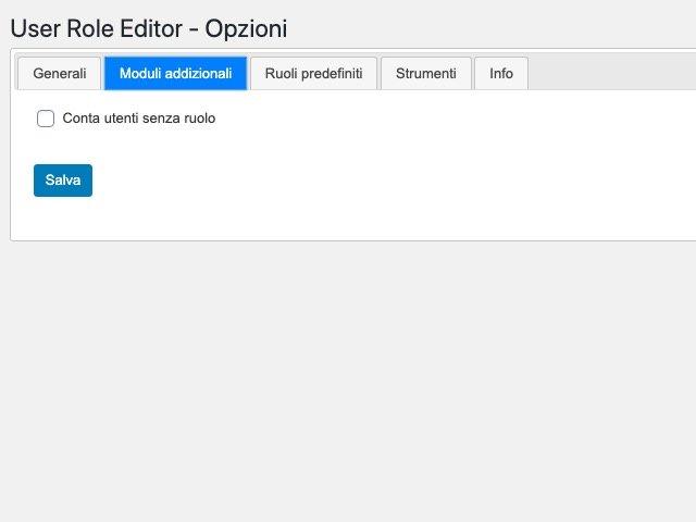 Opzioni del plugin User Role Editor 1