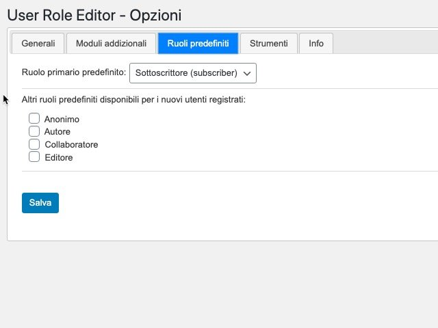 Opzioni del plugin User Role Editor 2