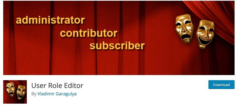 La pagina del plugin User Role Editor
