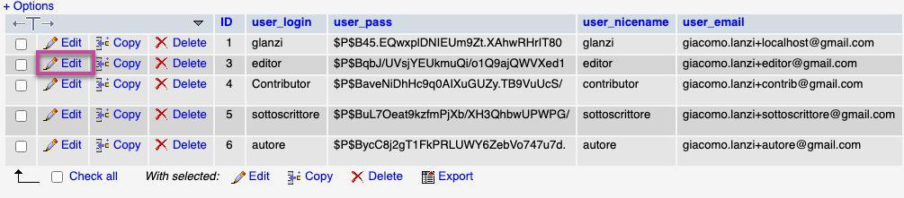 recupero password wordpress edit phpmyadmin