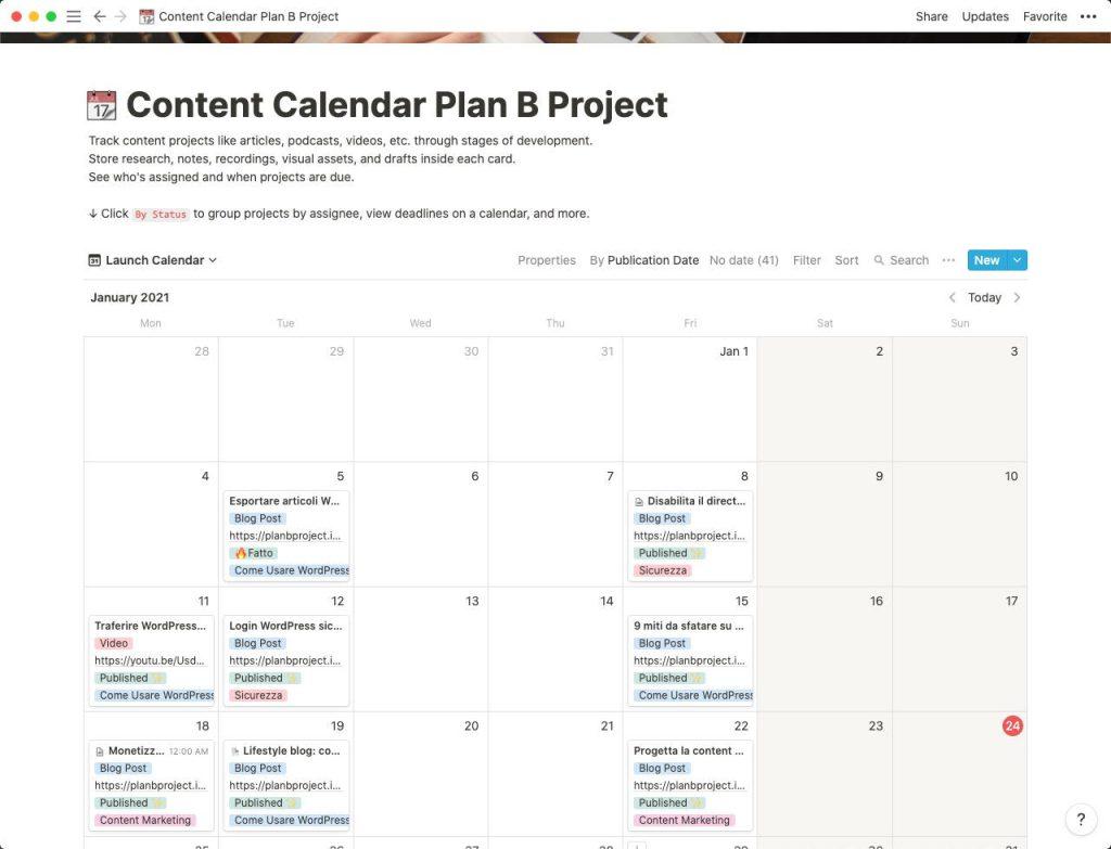Calendario Editoriale - Visuale a calendario