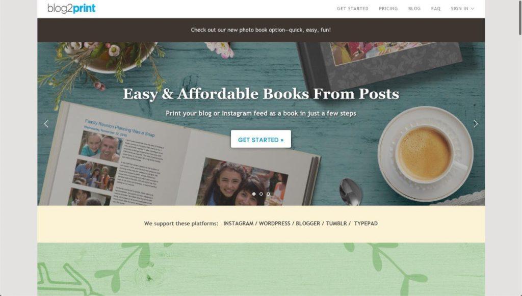 La home page di Blog2Print
