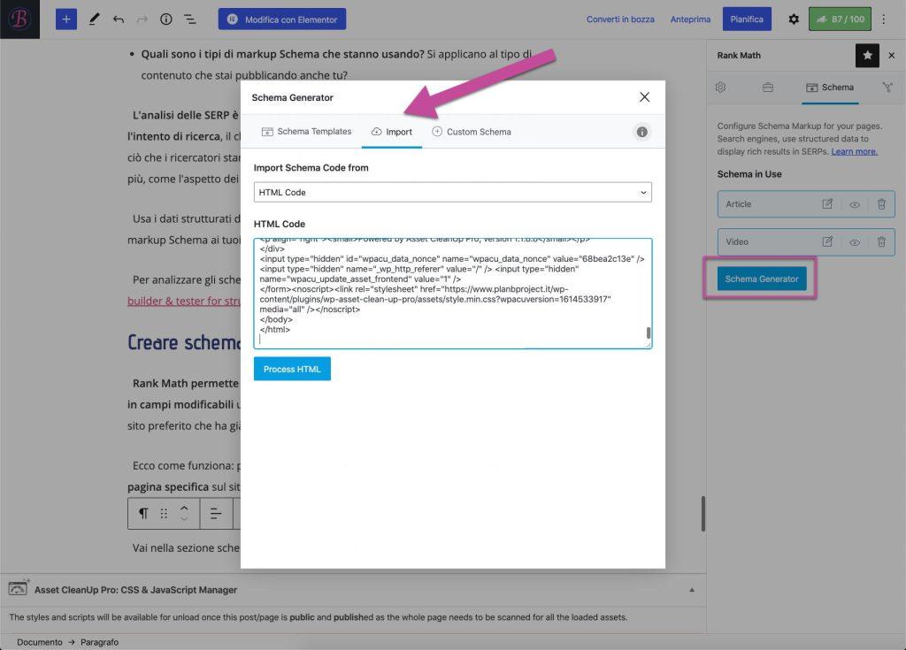 Importare i dati strutturati da un sorgente HTML