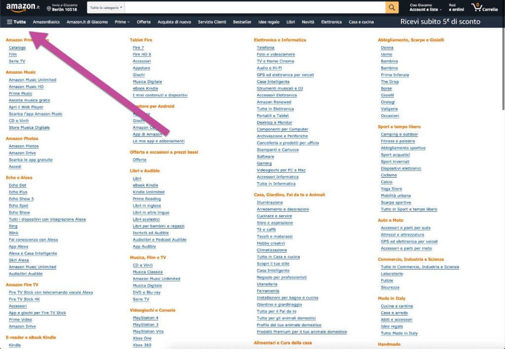 SEO per e-commerce Categorie Amazon