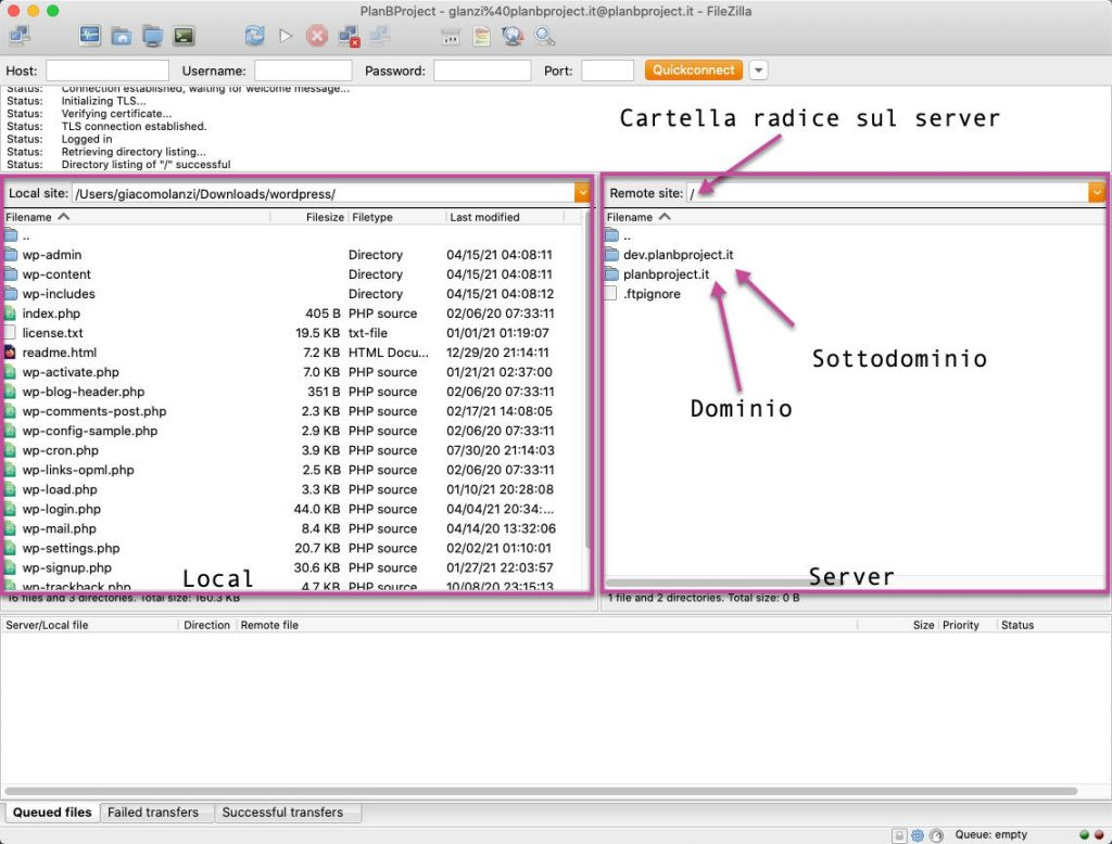 Staging in WordPress, trasferimento file con Filezilla