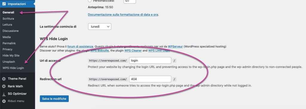 wordpress login url setup