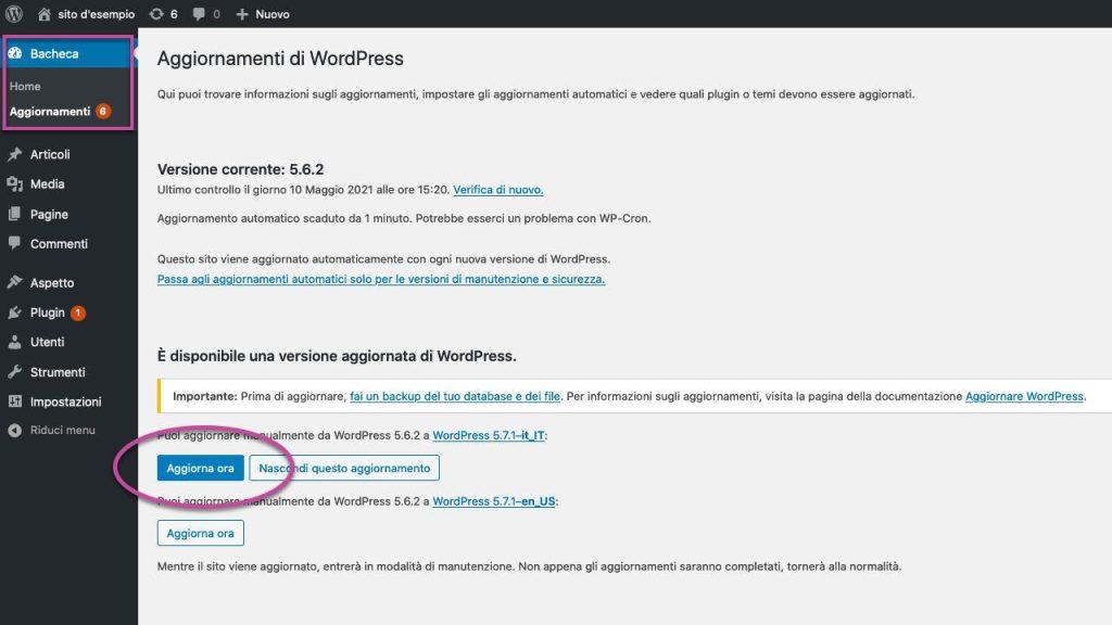 Aggiornamento WordPress bacheca