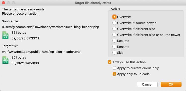 aggiornamento wordpress trasferimento file
