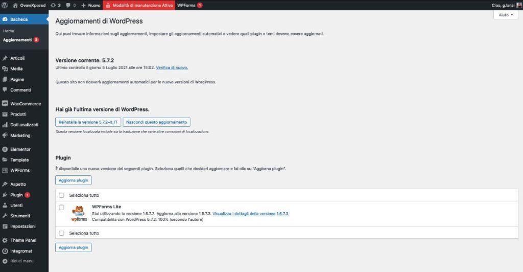 gestire un sito wordpress Gli aggiornamenti